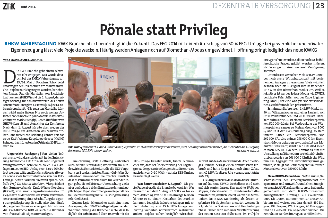 """Bericht in der ZfK über die Jahreskonferenz """"BHKW 2014 – Innovative Technologien und neue Rahmenbedingungen"""""""