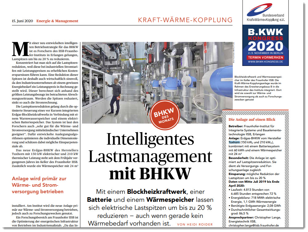 Intelligentes Lastmanagement mit BHKW