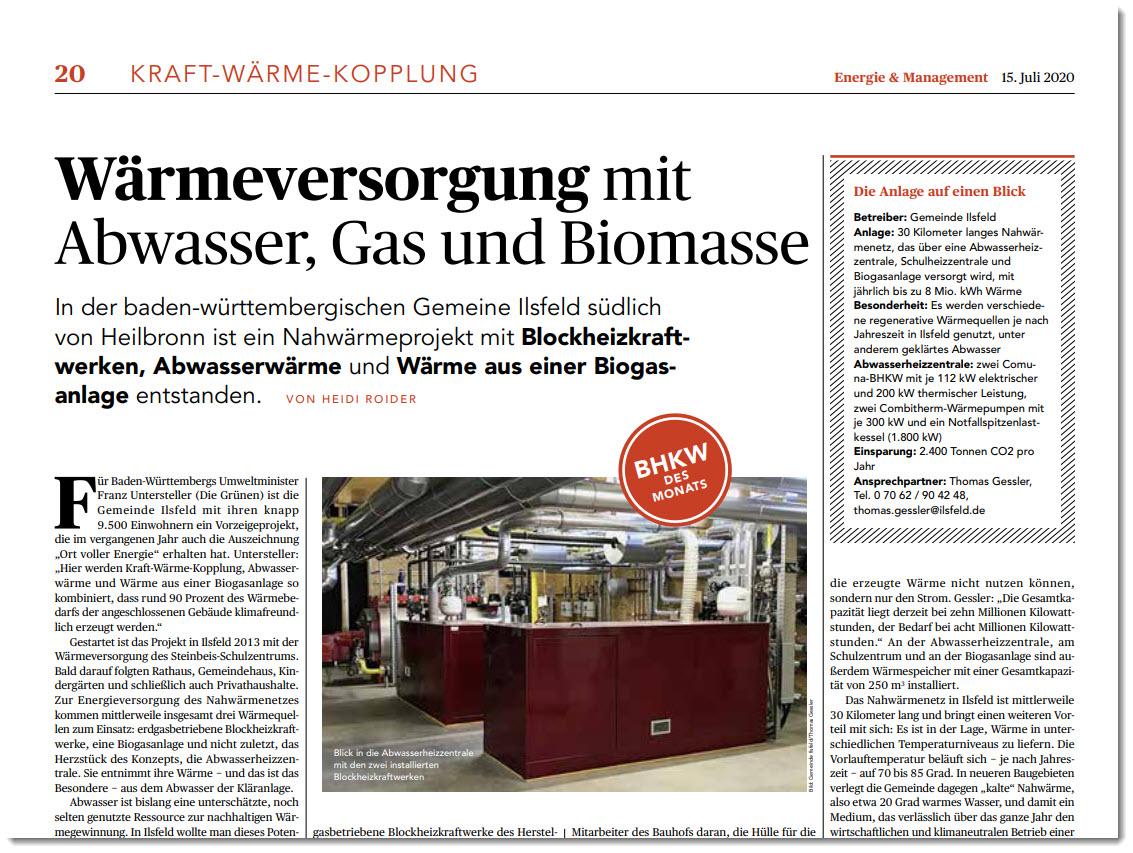Wärmeversorgung mit Abwasser, Gas und Biomasse