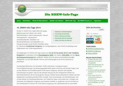 Informationsseite des BHKW-Forum e.V. zu den 10. BHKW-Info-Tagen 2014 in Wuppertal  (Bild: BHKW-Infozentrum)