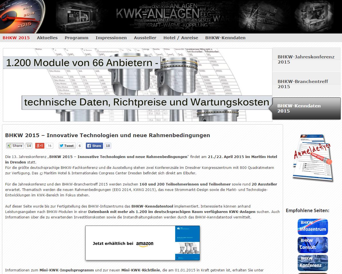 Die BHKW-Kenndaten 2015 wurden aktualisiert. Nun sind fast 1.300 Module in der Datenbank enthalten. (Bild: BHKW-Infozentrum)