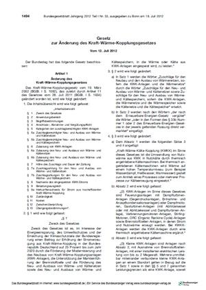 Bundesgesetzblatt KWKG 2012