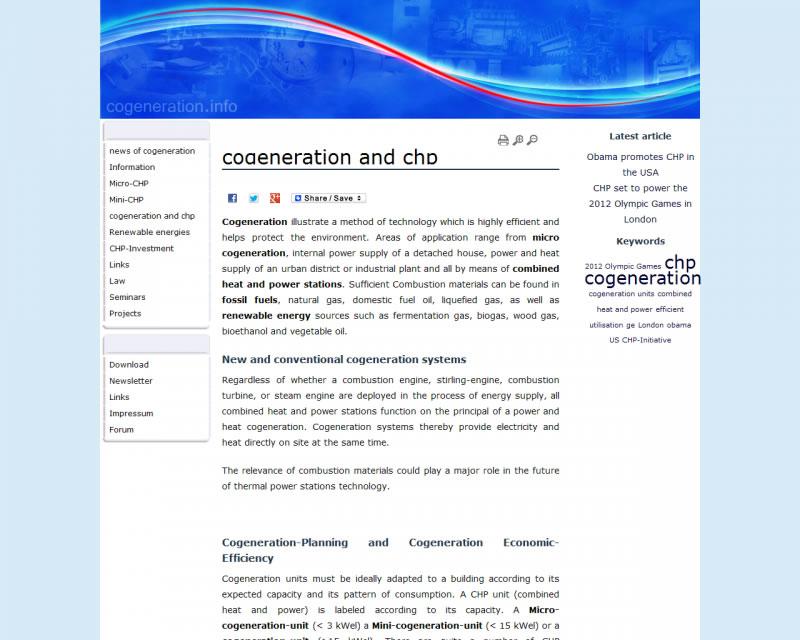 Einen ersten Eindruck des neuen Designs für das BHKW-Infozentrum vermittelt die Webseite www.cogeneration.info