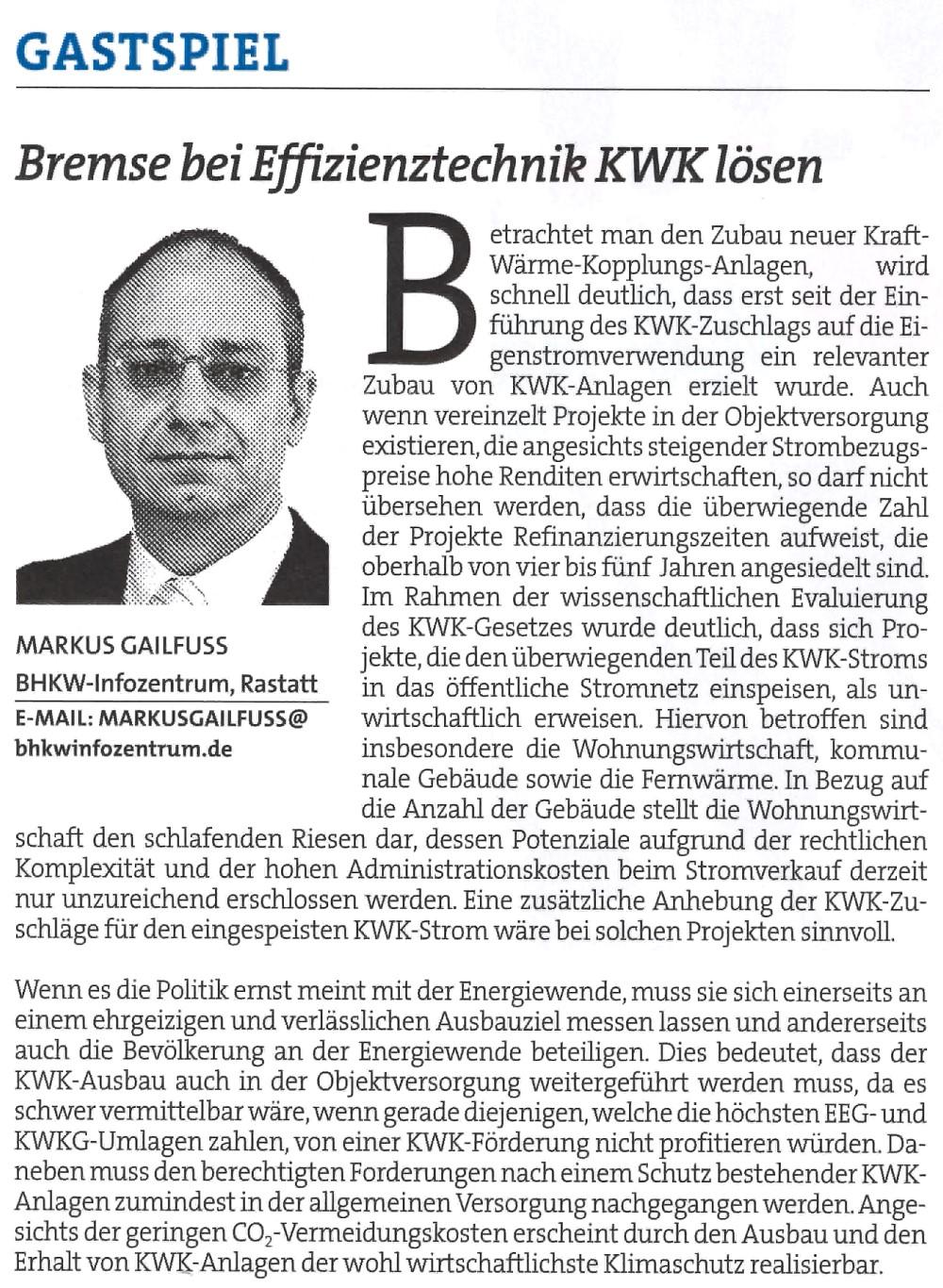 """Bericht von Markus Gailfuß in der ZFK 02/2015 """"Bremse bei Effizienztechnik KWK lösen"""" (Bild: ZFK)"""