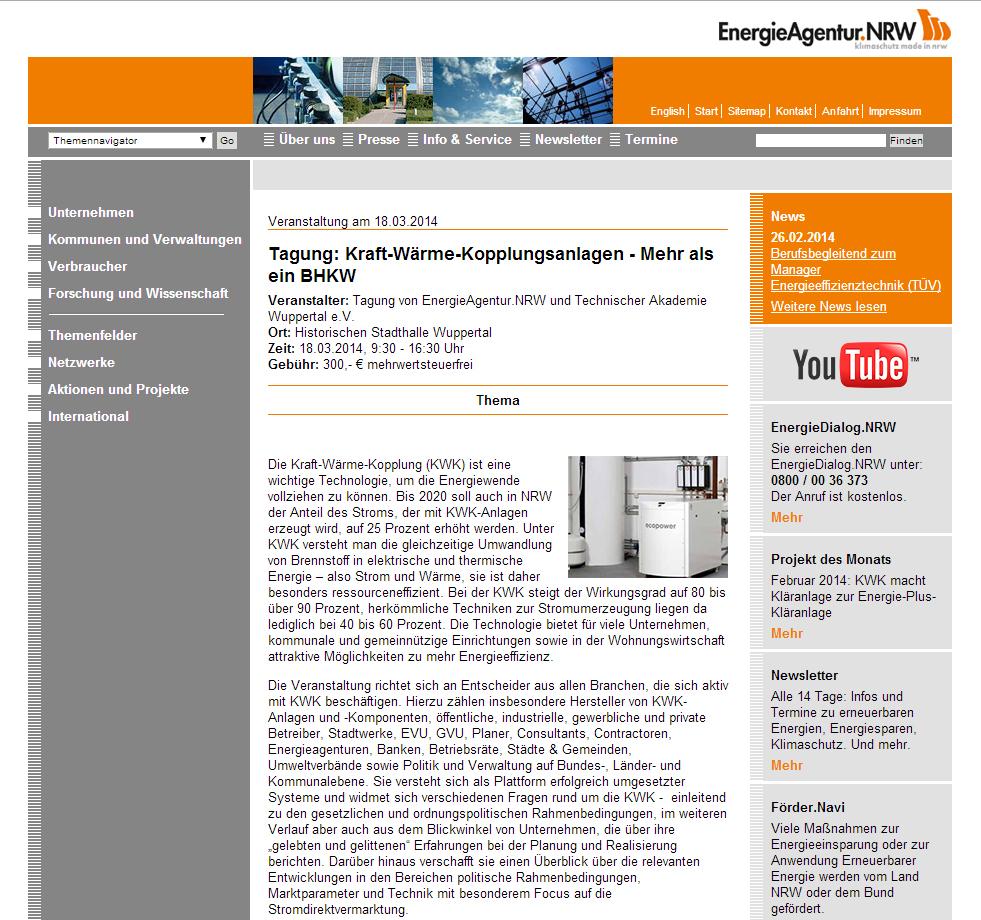 Internetseite der EnergieAgentur.NRW GmbH