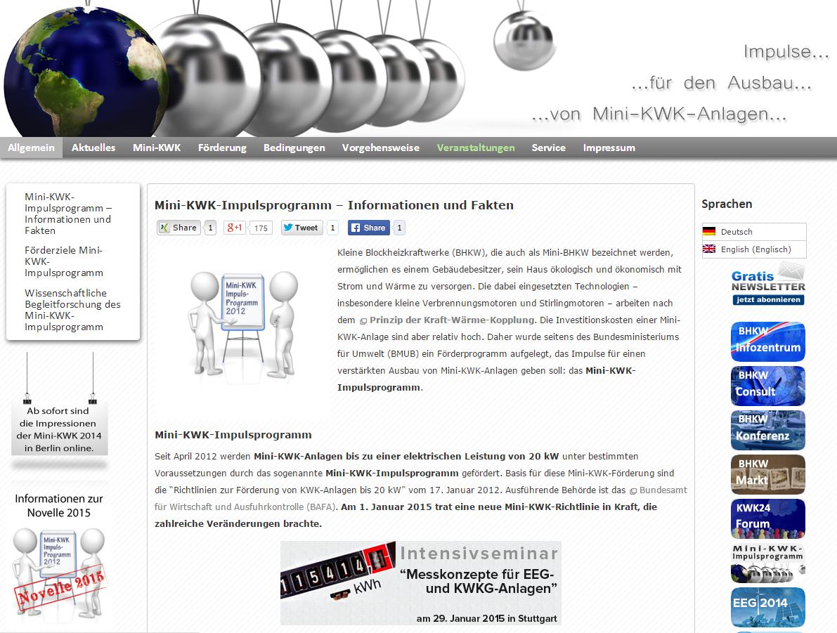 Auf mehr als 50 informativen Seiten werden die Aspekte einer Mini-KWK-Förderung ausführlich behandelt (Quelle: BHKW-Infozentrum / www.mini-kwk-impulsprogramm.de)