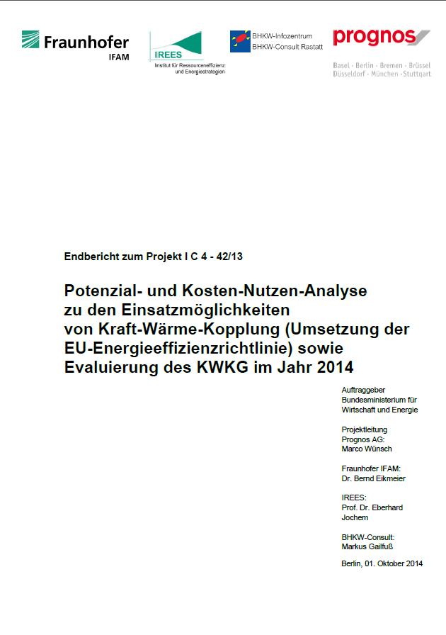 """Screenshot des Gutachtens """"Potenzial- und Kosten-Nutzen-Analyse zu den Einsatzmöglichkeiten von Kraft-Wärme-Kopplung"""" (Bild: BHKW-Infozentrum)"""