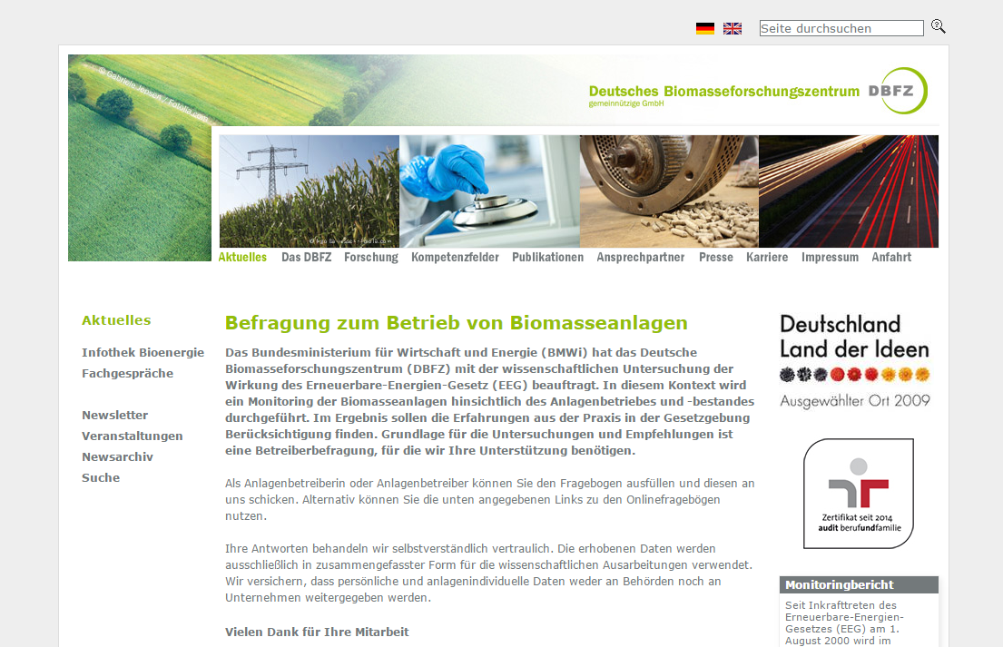 DBFZ-Befragung zum Betrieb von Biomasseanlagen (Bild: BHKW-Infozentrum)