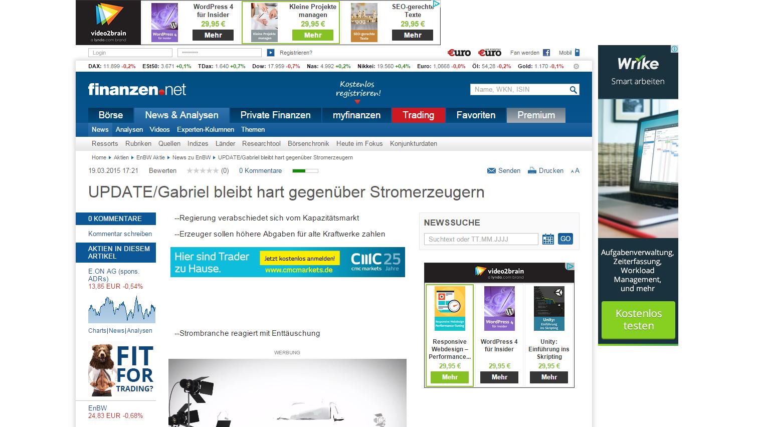 """finanzen.de: """"UPDATE/Gabriel bleibt hart gegenüber Stromerzeugern"""""""