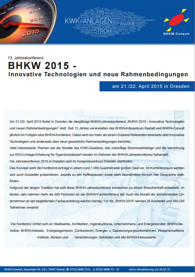 """Anmeldeflyer zur """"BHKW 2015 – Innovative Technologien und neue Rahmenbedingungen"""""""