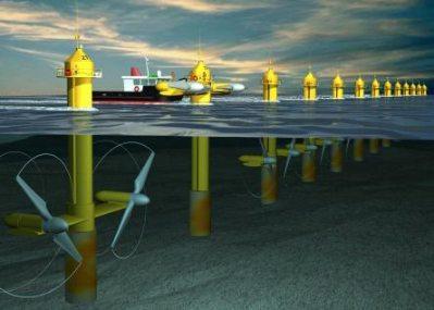 Seaflow-Anlage mit zwei Rotoren (Bildquelle: MCT)