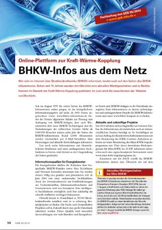 """Bericht """"BHKW-Infos aus dem Netz"""" der Fachzeitschrift GEB"""