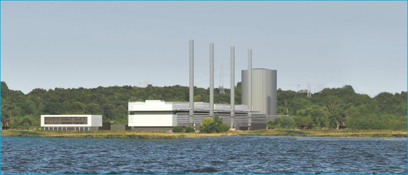 Eine Vorschau auf das neue Kraftwerk samt Wärmespeicher (Bild: Stadtwerke Kiel)