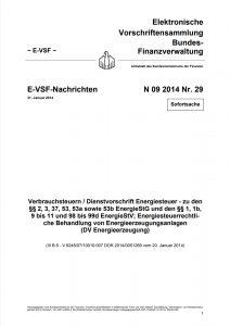 Titelseite Verbrauchssteuern - Energiesteuergesetz - Dienstvorschrift Energieerzeugung