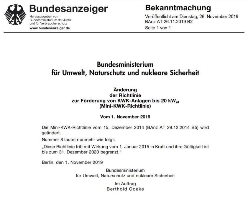 Mini-KWK-Anlagen werden ab 2021 nicht mehr gefördert