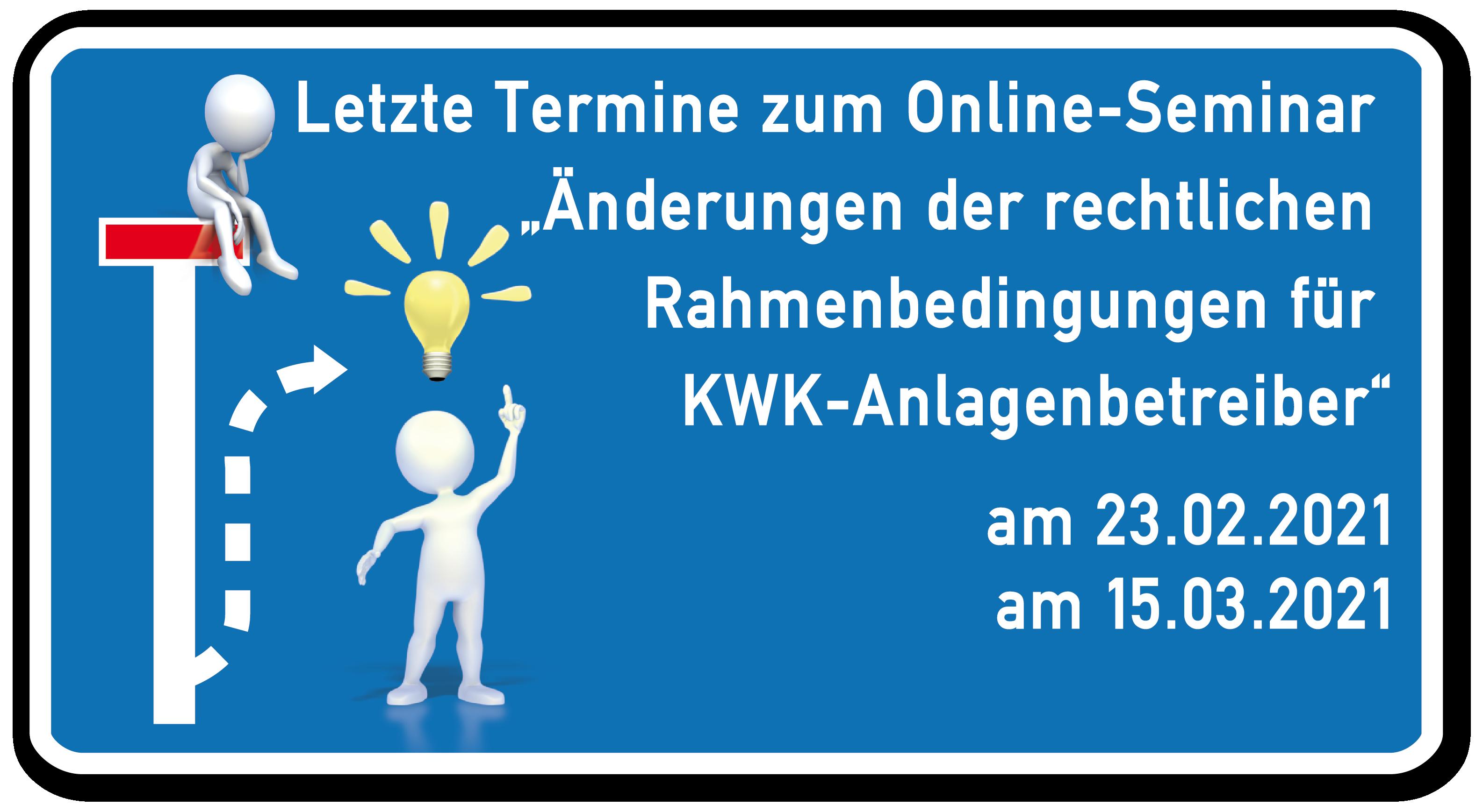 Kompaktes Wissen in zwei zusätzlichen Online-Seminaren zum KWKG und EEG 2021