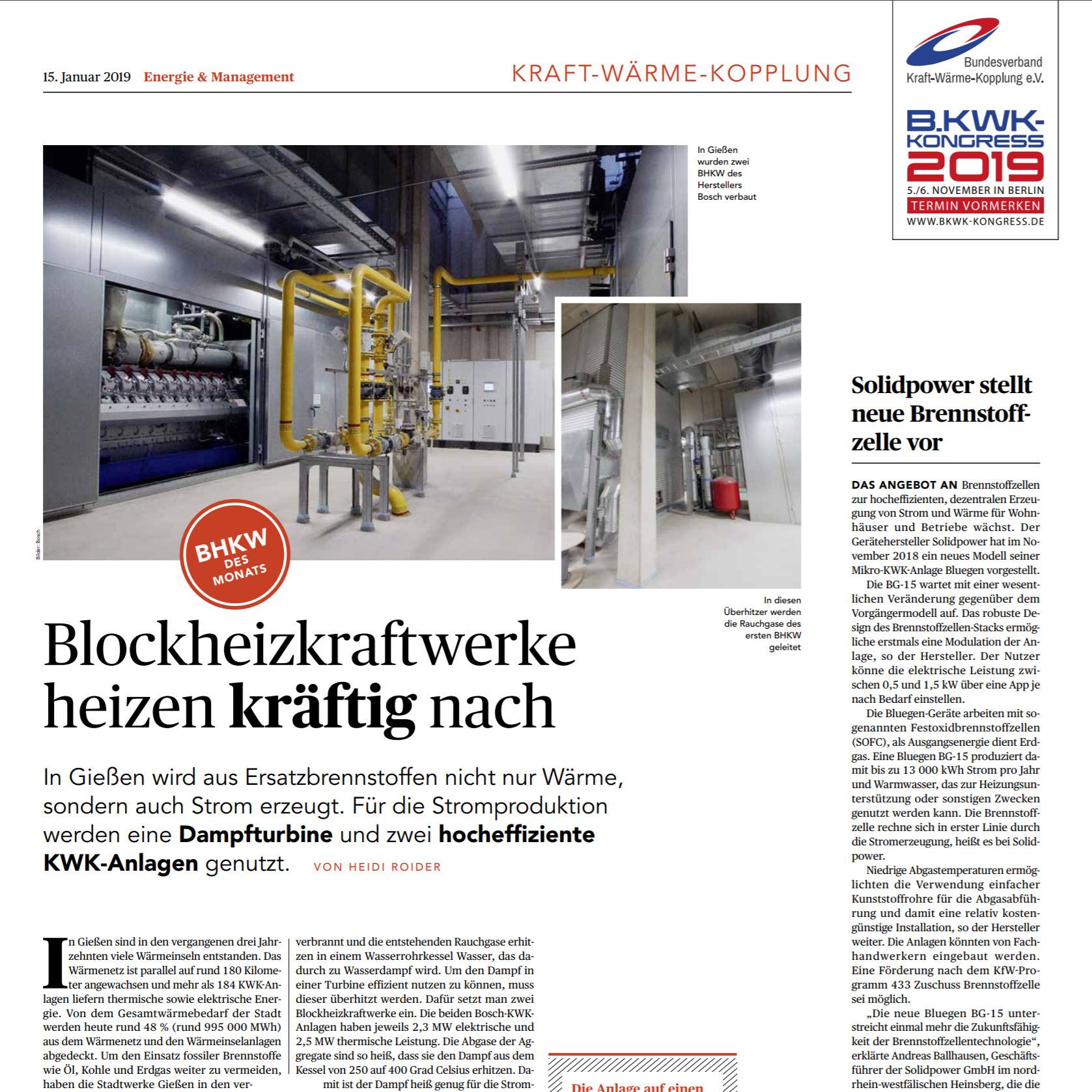 Blockheizkraftwerke heizen kräftig nach