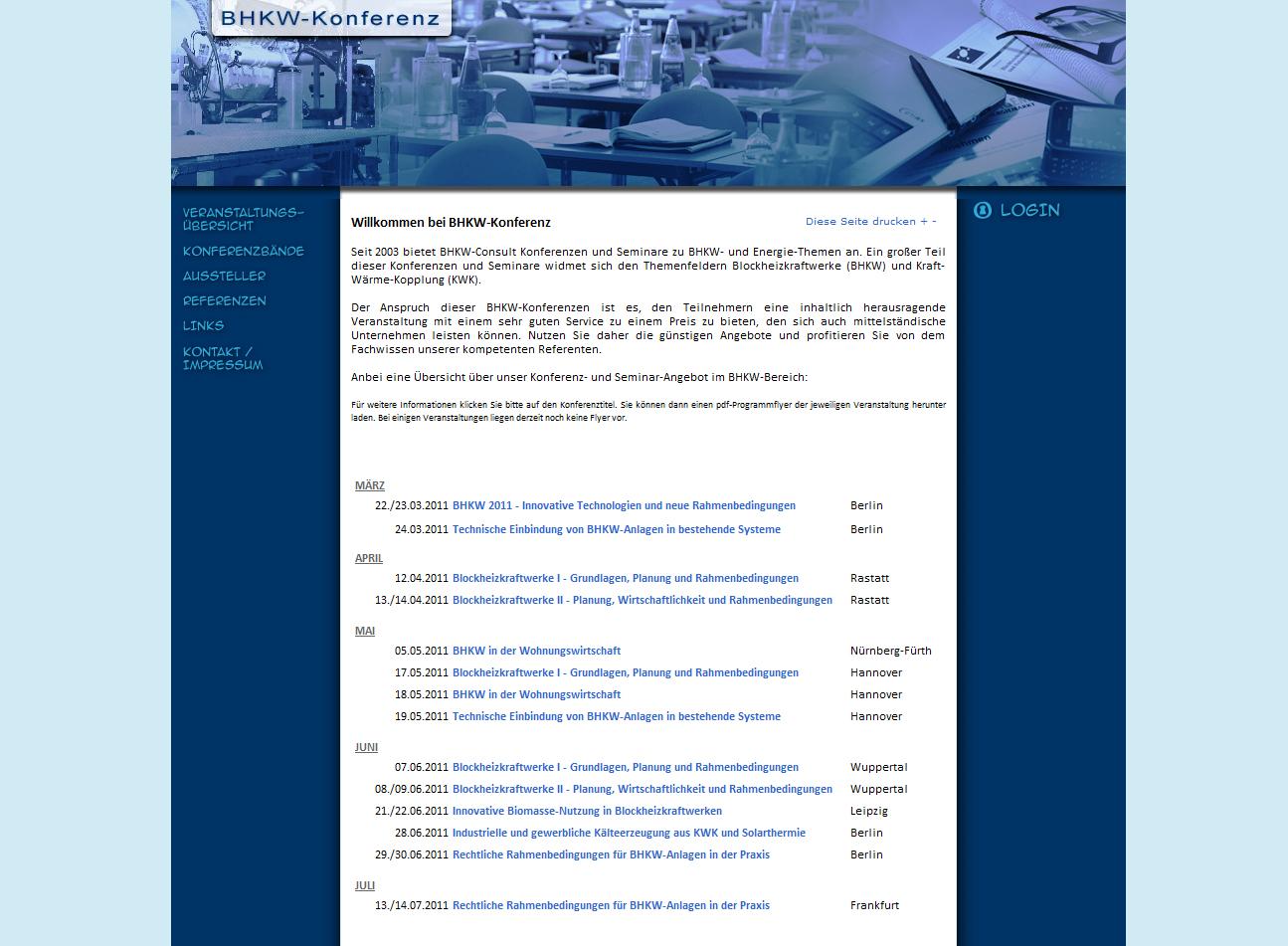 Konferenzen zu Blockheizkraftwerke (BHKW), BHKW-Planung, KWK und Mini-BHKW