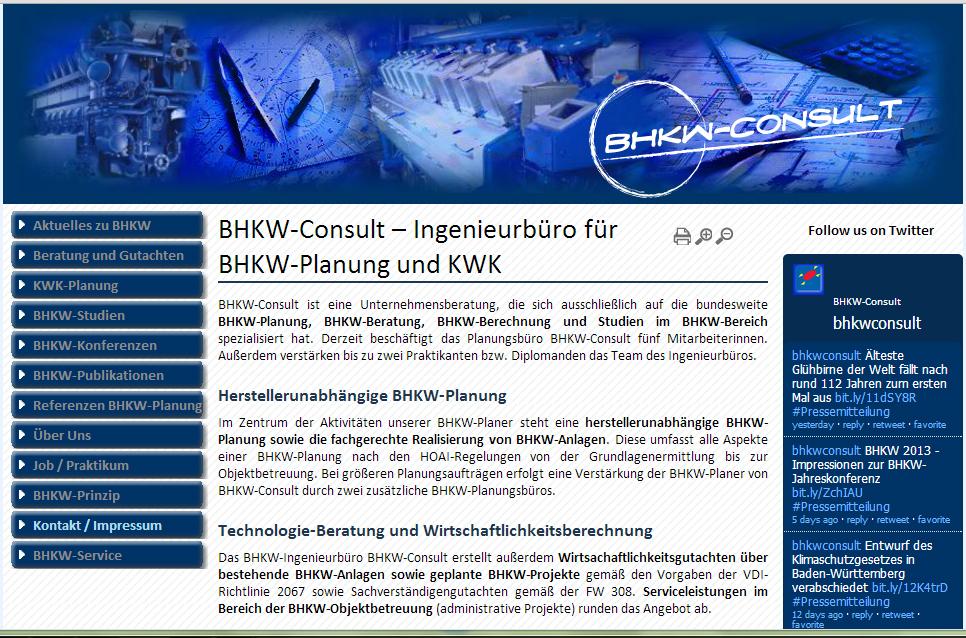 BHKW-Consult  ist ein auf BHKW-Planung spezialisierte Unternehmensberatung mit Ingenieurbüro, welches die Planung und Beratung bei BHKW-Projekten übernimmt