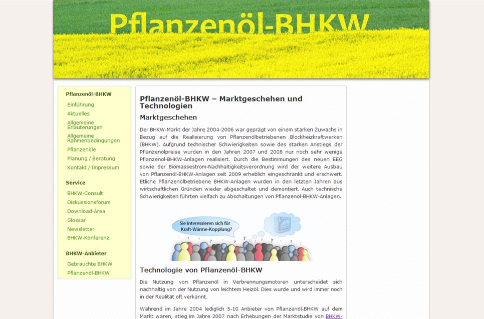 Informationsseite über Rapsöl-BHKW, Palmöl-BHKW und Sojöl-BHKW.