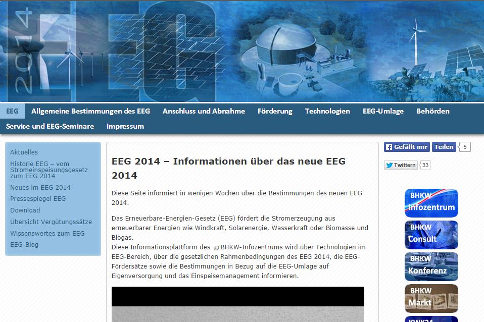 Informationsseite über das Erneuerbare-Energien-Gesetz 2014