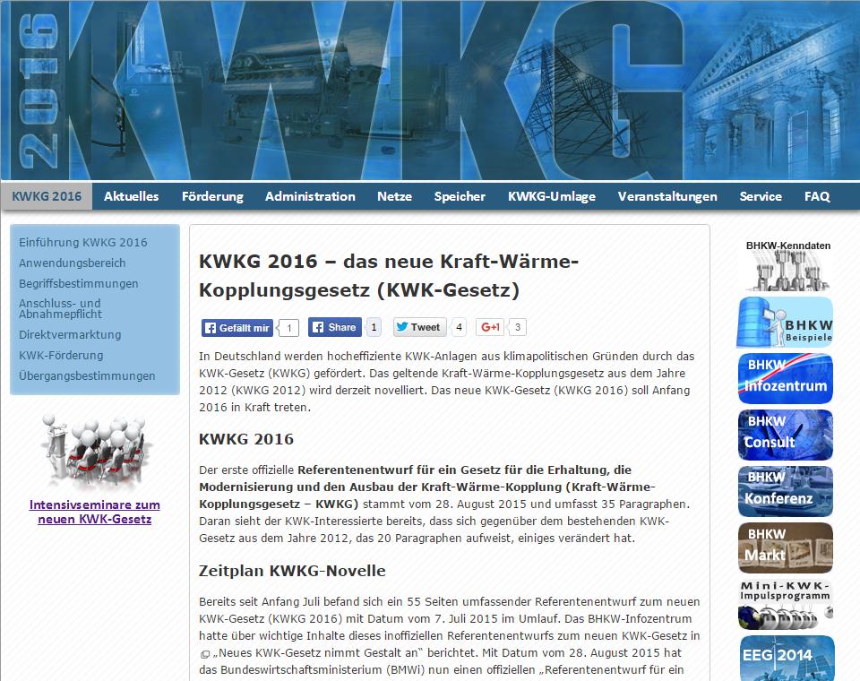 Informationsseite über das novellierte KWK-Gesetz 2016, welches am 01. Januar 2016 in Kraft treten soll.