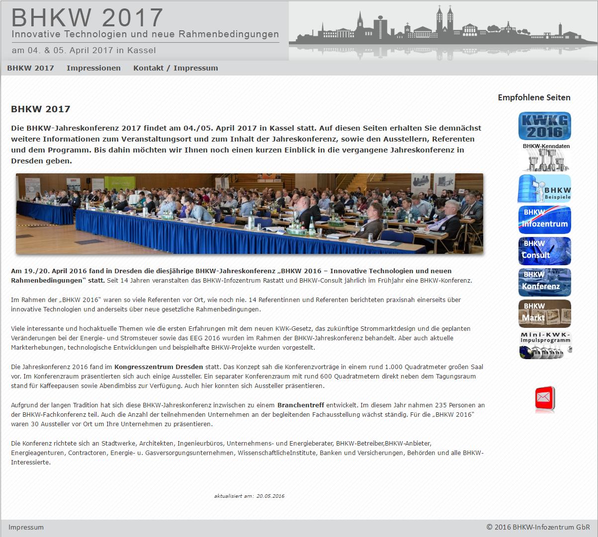 """Informationsseite zur Jahreskonferenz """"BHKW 2017 – Innovative Technologien und neue Rahmenbedingungen"""""""