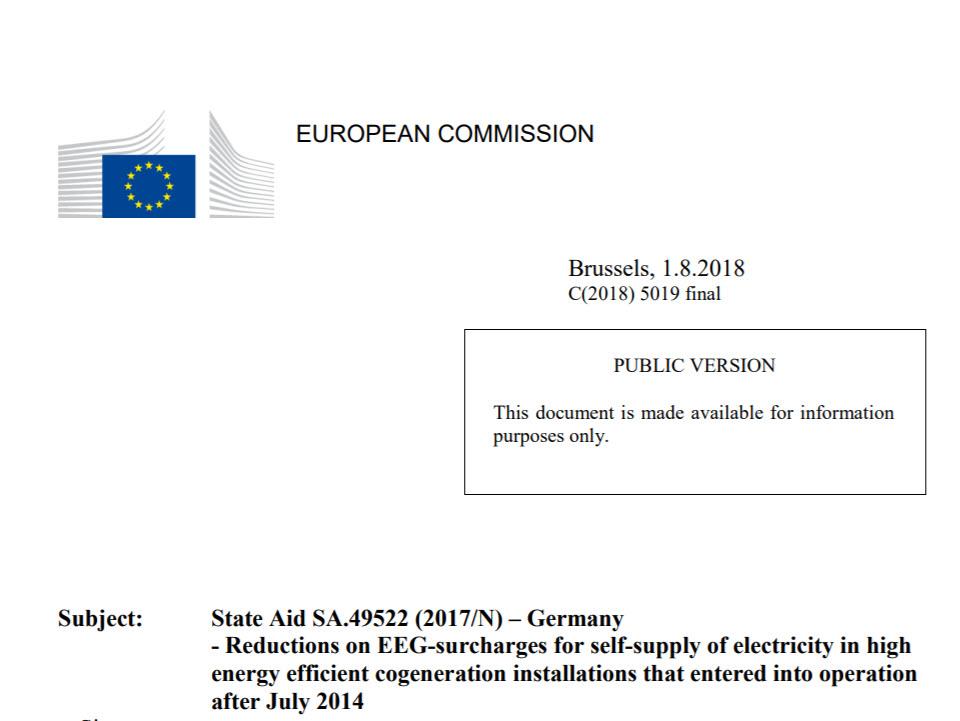 Beschlussfassung der EU-Kommission SA.49522 zur EEG-Umlage auf Eigenstromverwendung